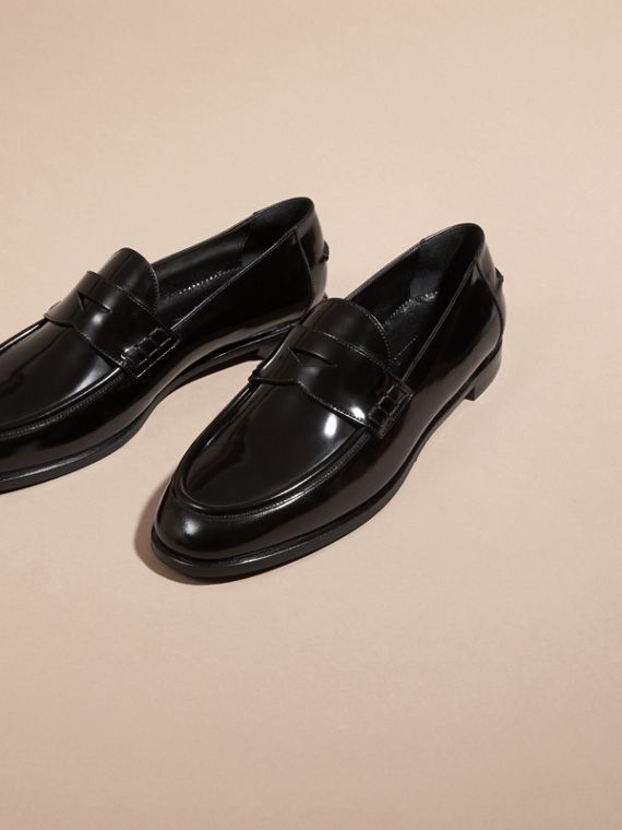 Black Polished Leather Loafers - cell image 2