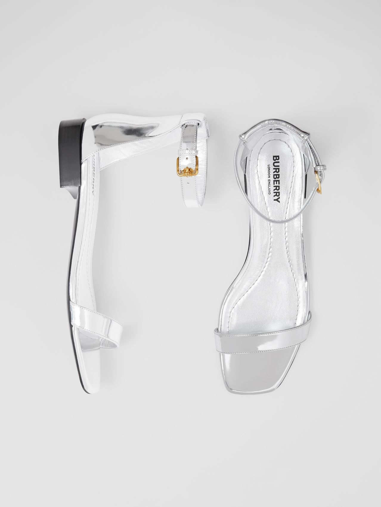 Metallic Leather Sandals in Silver