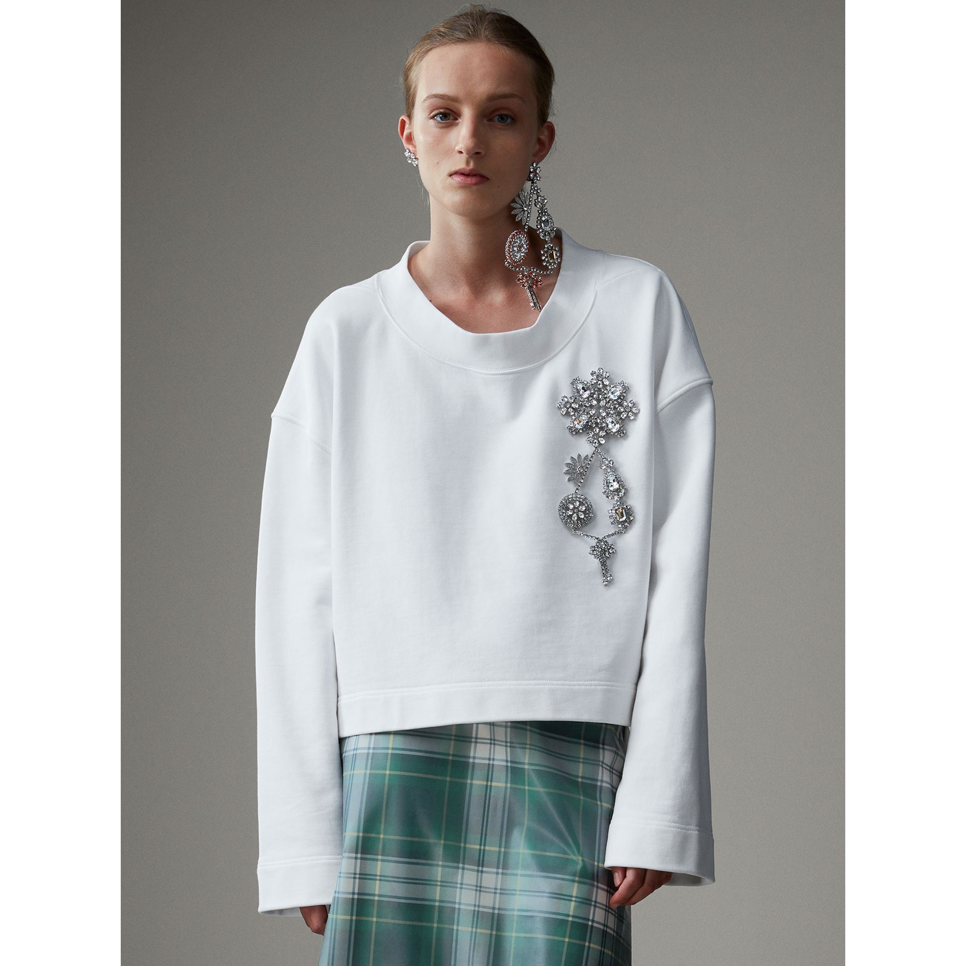 Cropped Sweatshirt with Crystal Brooch in Optic White - Women | Burberry Australia - gallery image 6
