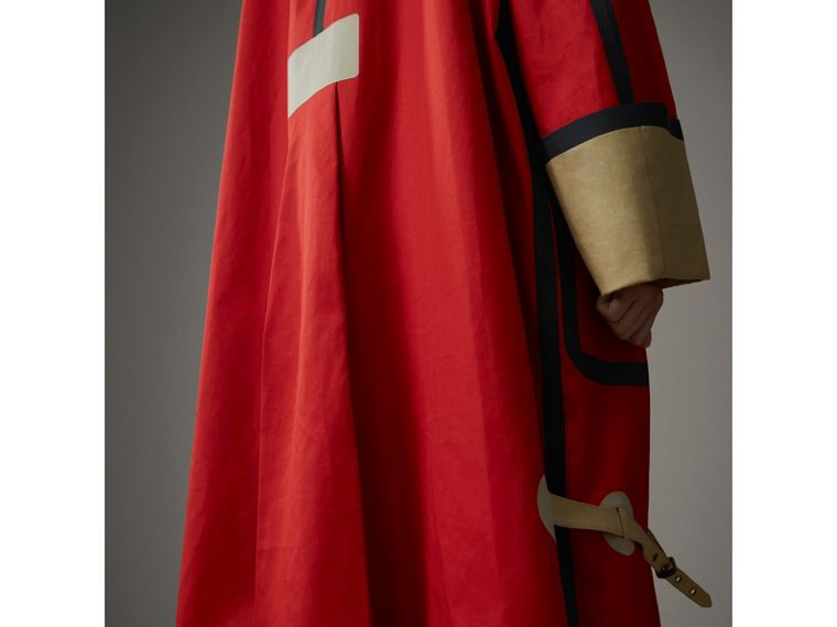 Bonded Cotton Oversized Seam-sealed Car Coat in Red/beige - Women | Burberry - cell image 1