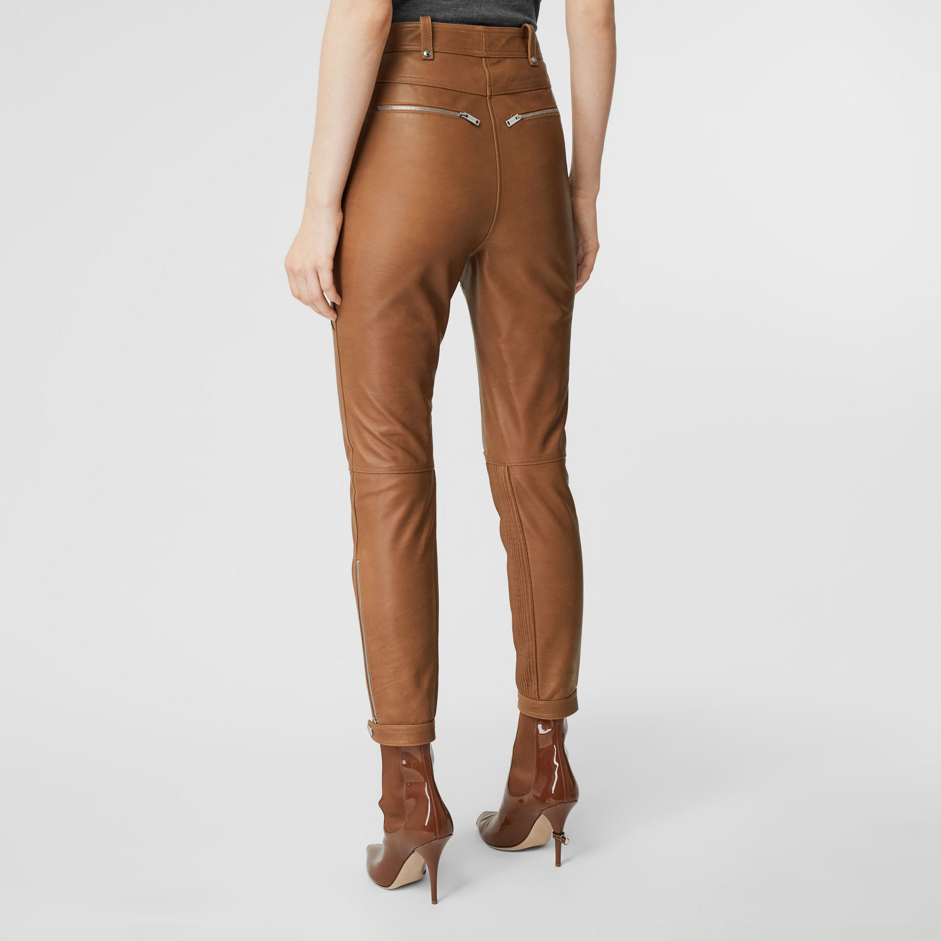 Biker Leather Trousers in Brown - Women | Burberry United Kingdom - gallery image 2