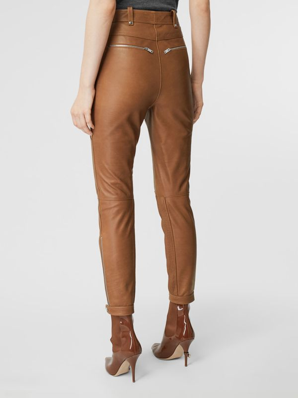 Biker Leather Trousers in Brown - Women | Burberry United Kingdom - cell image 2