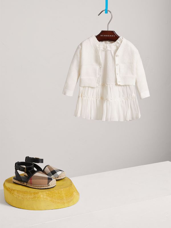 Multi-stitch Cotton Cardigan in White - Children | Burberry - cell image 2