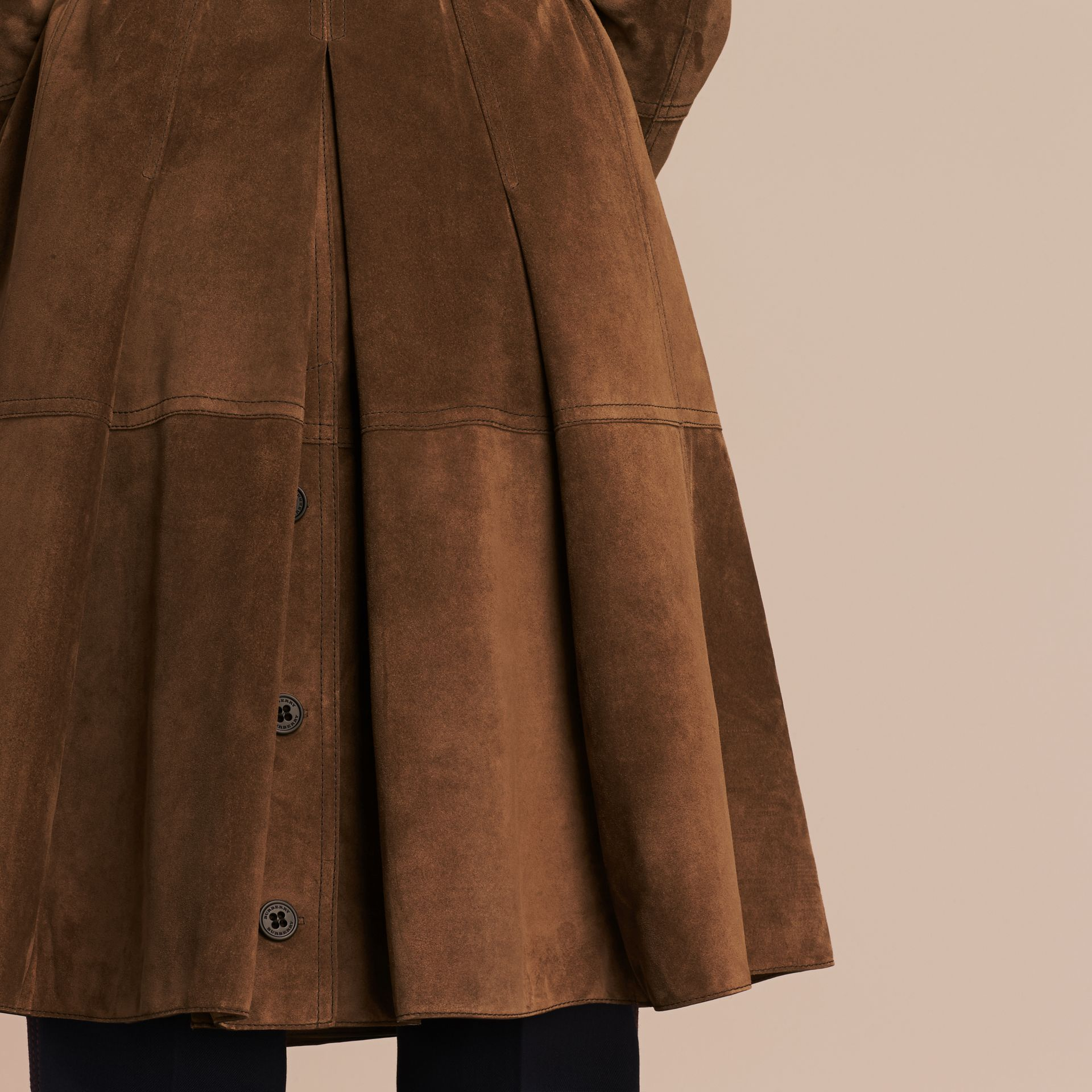 Charcoal brown Double-breasted Suede Coat - gallery image 6
