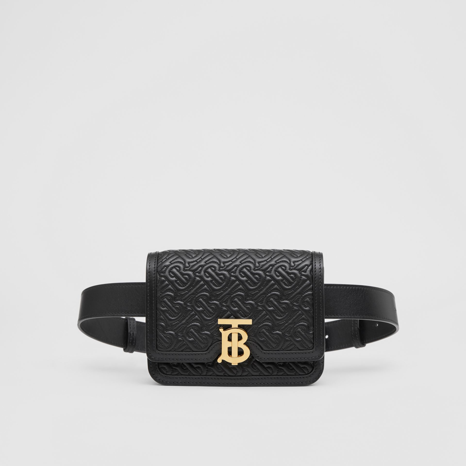 Belted Quilted Monogram Lambskin TB Bag in Black - Women | Burberry - gallery image 0