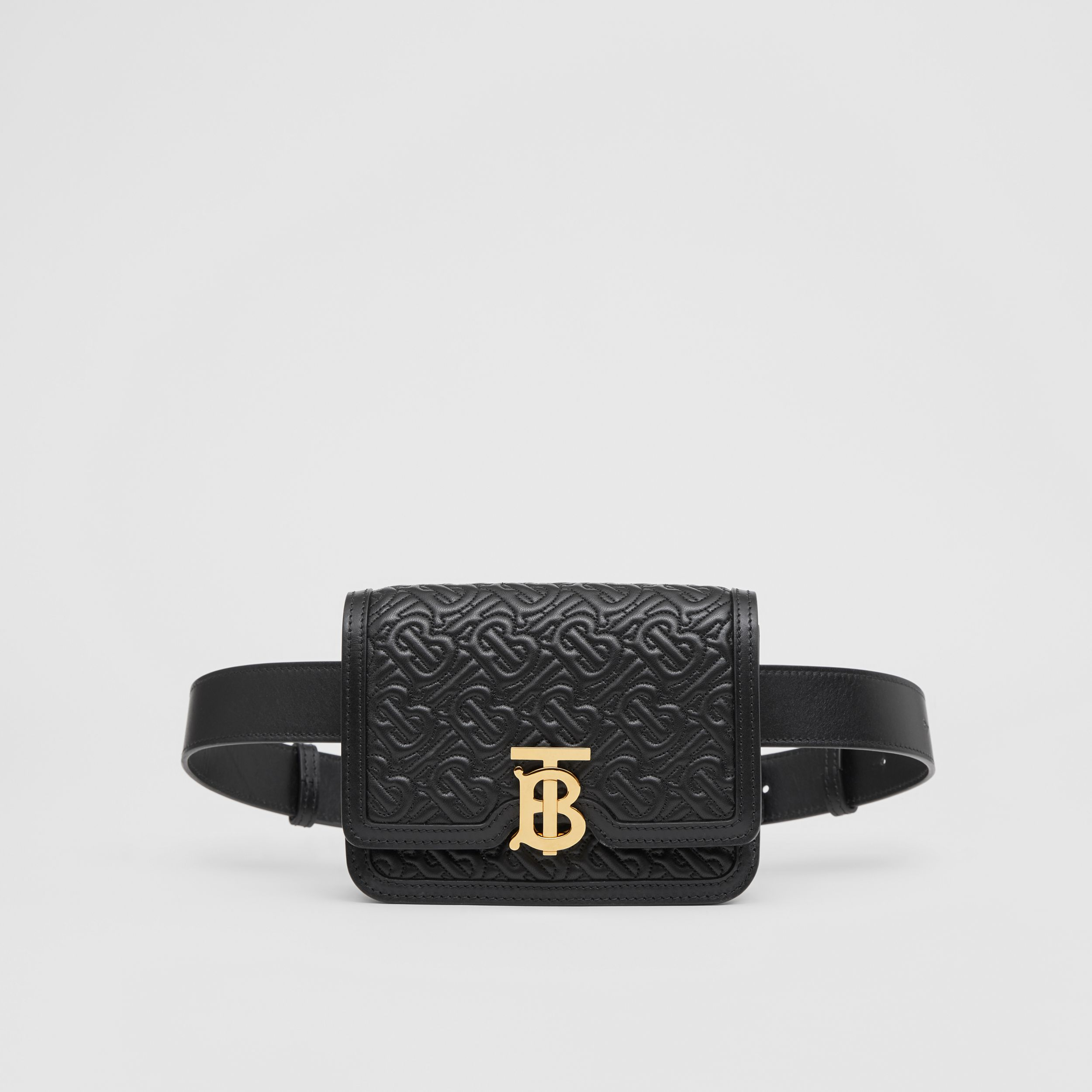 Belted Quilted Monogram Lambskin TB Bag in Black - Women | Burberry - 1