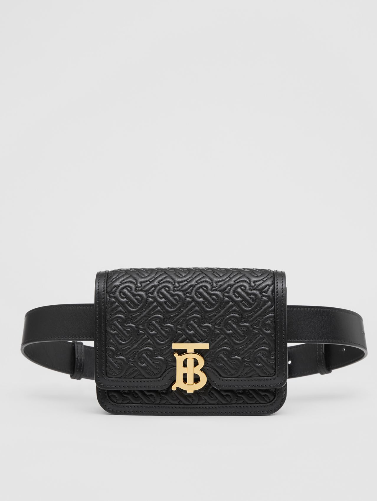 Belted Quilted Monogram Lambskin TB Bag in Black