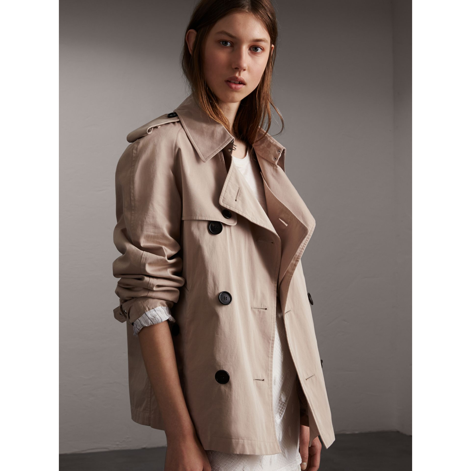 Unisex Tropical Gabardine Trench Jacket in Light Taupe - Women | Burberry - gallery image 8