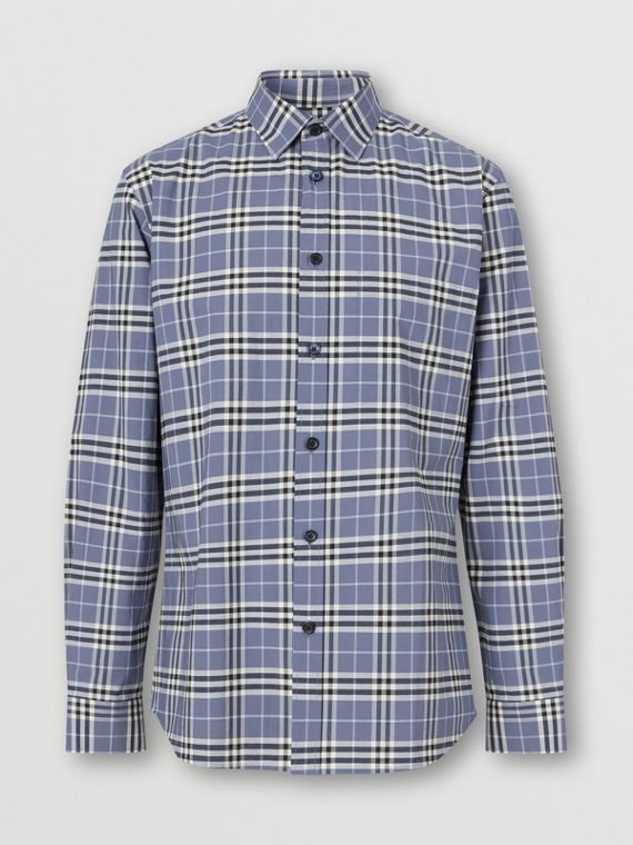 Small Scale Check Stretch Cotton Shirt in Pebble Blue