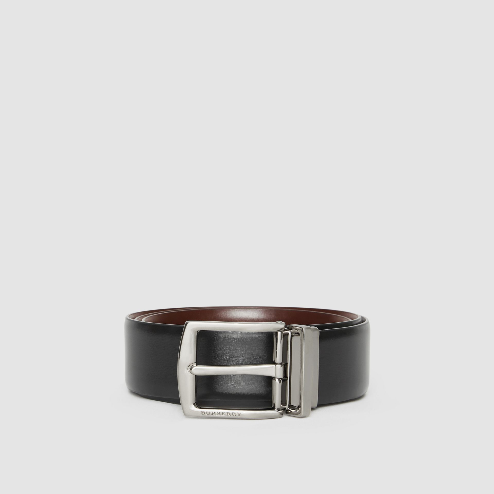 Reversible Leather Belt in Black/chocolate - Men | Burberry - gallery image 4