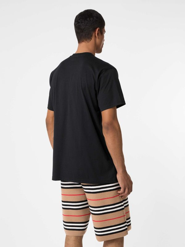 Union Jack Photo Print Cotton Oversized T-shirt in Black - Men | Burberry - cell image 2