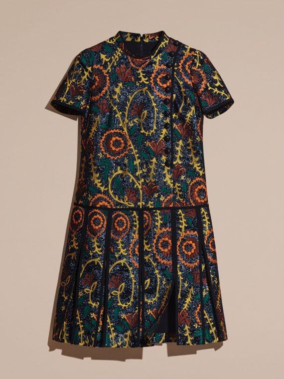 Bright navy Floral Jacquard Drop Waist Dress - cell image 3