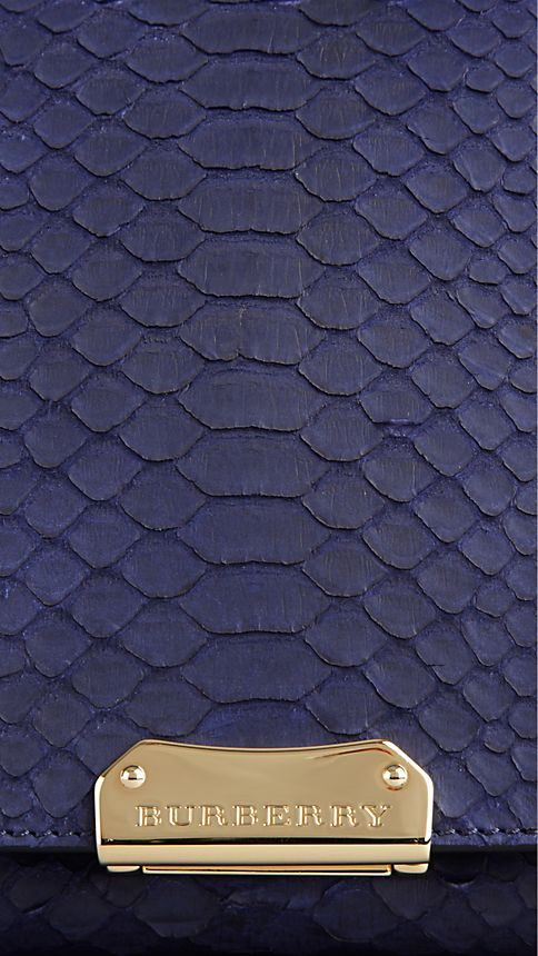 Bright regency blue Medium Nubuck Python Clutch Bag - Image 6