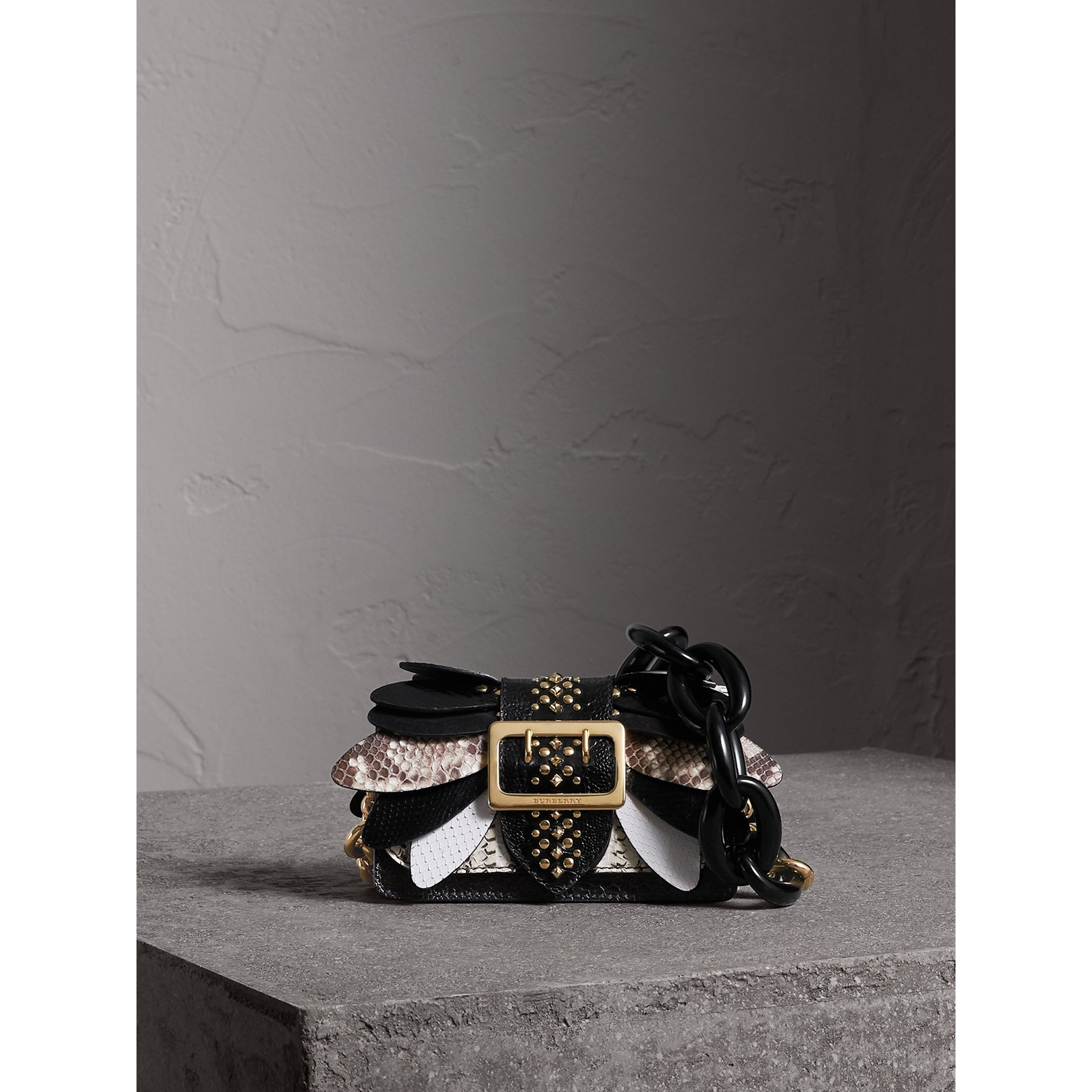 The Small Buckle Bag in Leather and Snakeskin Appliqué in Black/white - Women | Burberry - gallery image 1