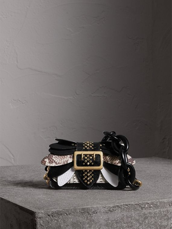 The Small Buckle Bag in Leather and Snakeskin Appliqué in Black/white