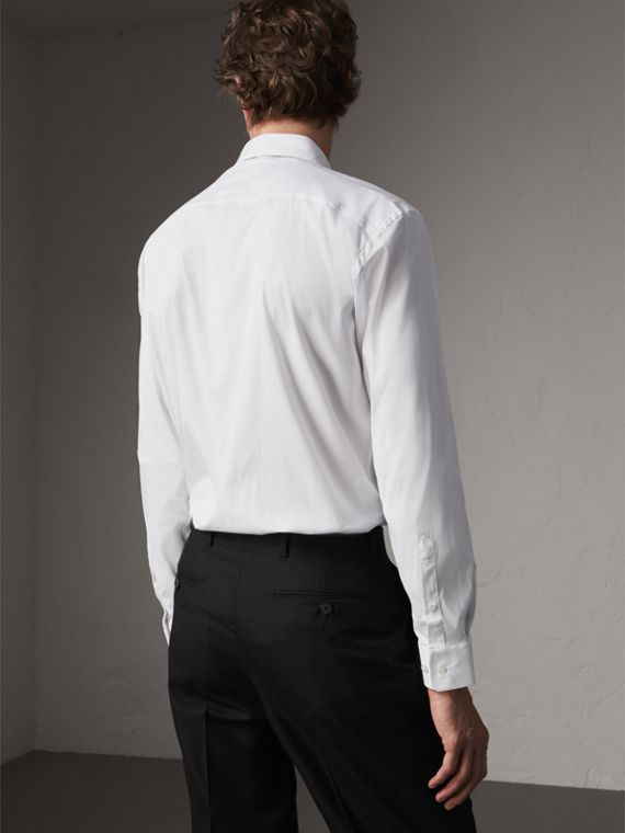 Modern Fit Stretch Cotton Shirt in White - Men | Burberry - cell image 2