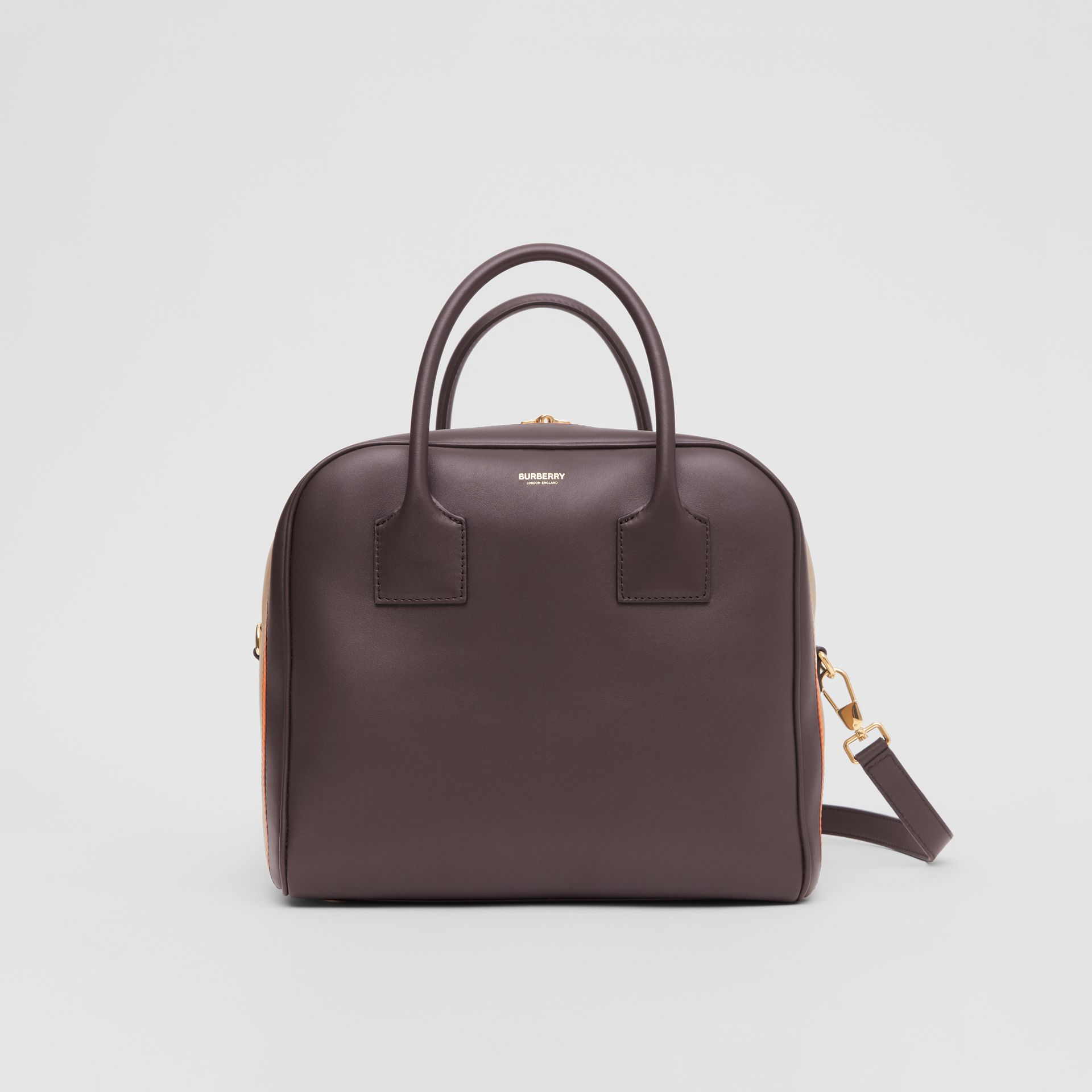 Medium Stripe Intarsia Leather Cube Bag in Coffee/pumpkin - Women | Burberry Canada - gallery image 0
