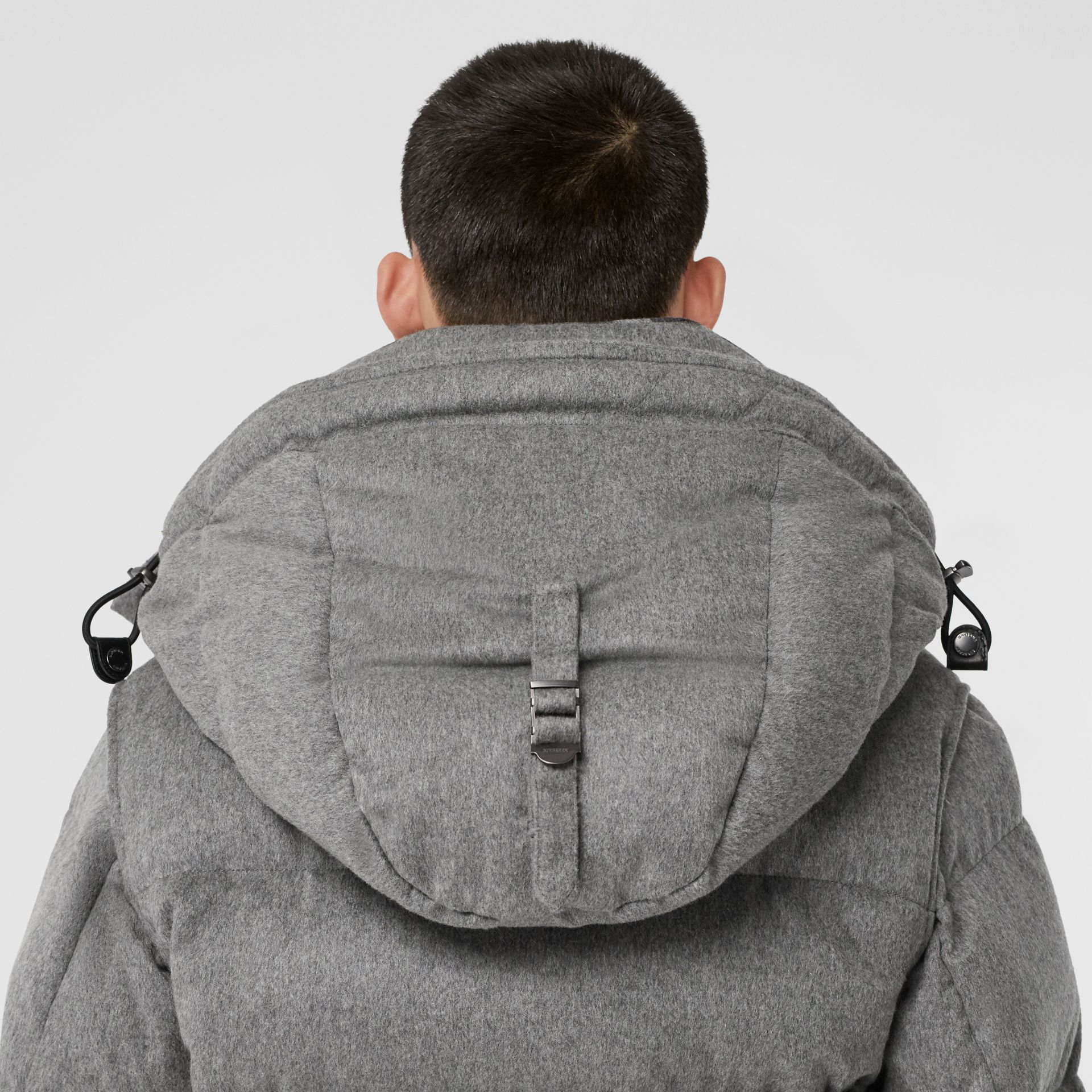 Detachable Sleeve Cashmere Hooded Puffer Jacket in Mid Grey Melange - Men | Burberry - gallery image 4