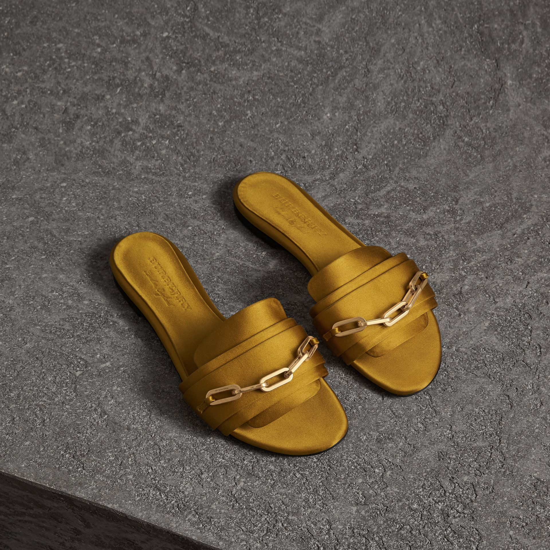 Link Detail Satin and Leather Slides in Antique Yellow - Women | Burberry Australia - gallery image 0