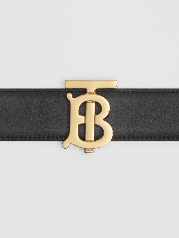 Reversible Monogram Motif Leather Belt in Black/malt Brown - Women | Burberry United Kingdom - cell image 1