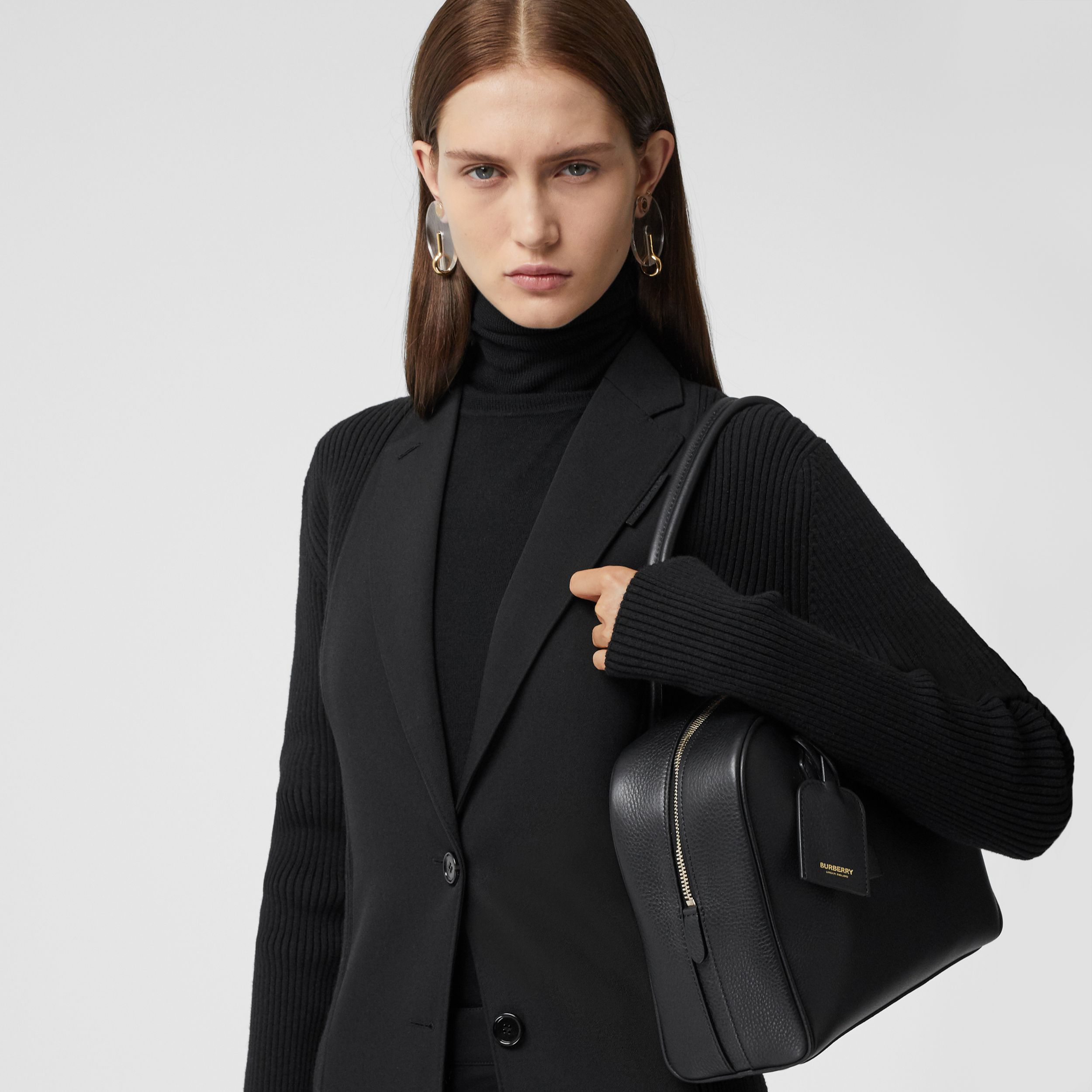 Medium Leather Half Cube Bag in Black - Women | Burberry - 3