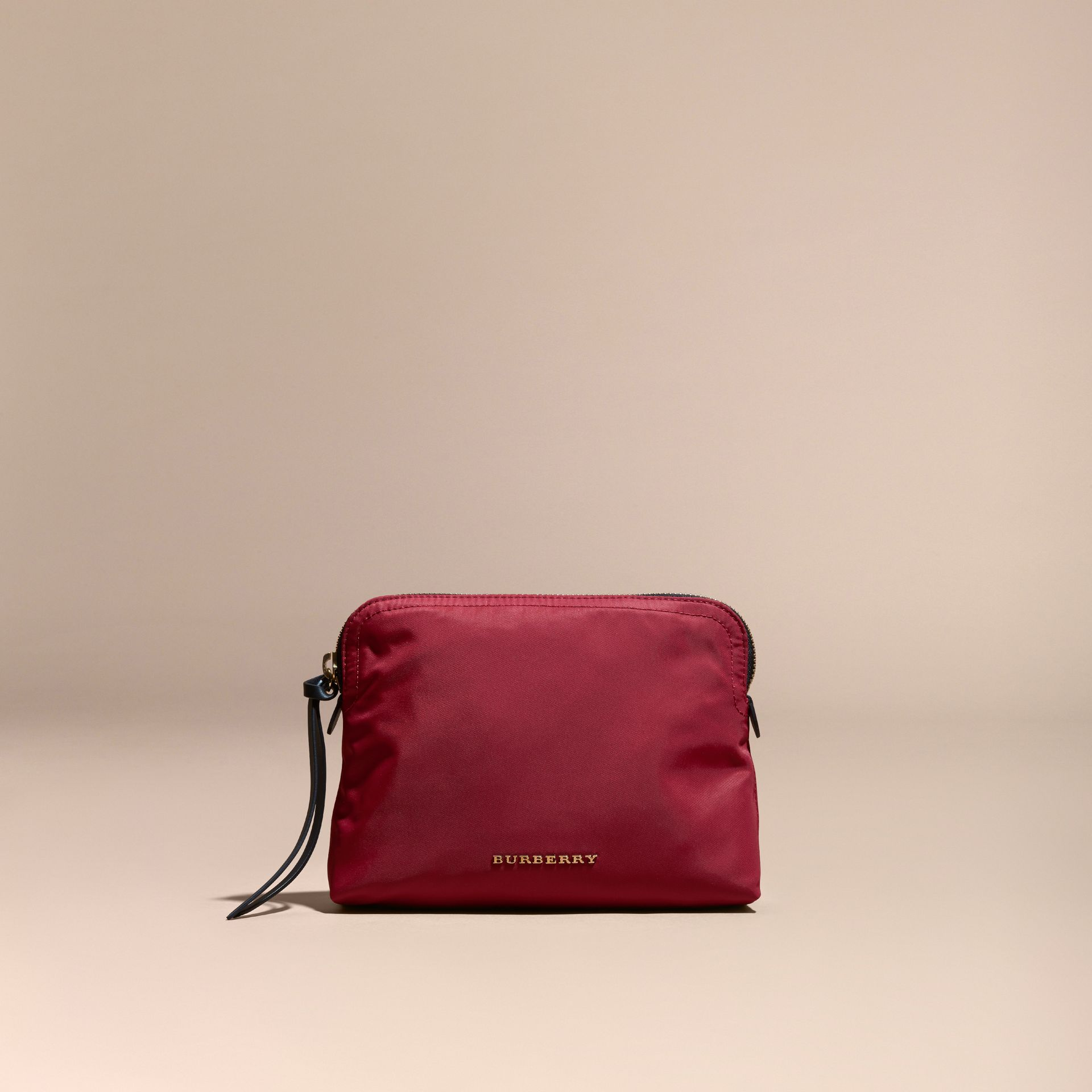 Large Zip-top Technical Nylon Pouch in Parade Red - gallery image 2
