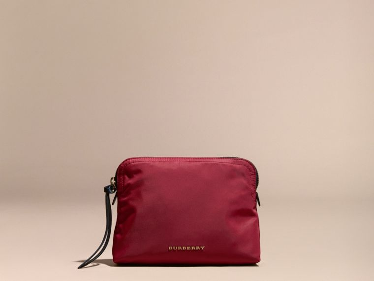 Large Zip-top Technical Nylon Pouch in Parade Red - cell image 1
