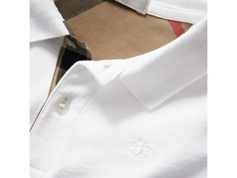 Long-sleeve Cotton Jersey Polo Shirt in White - Boy | Burberry - cell image 1