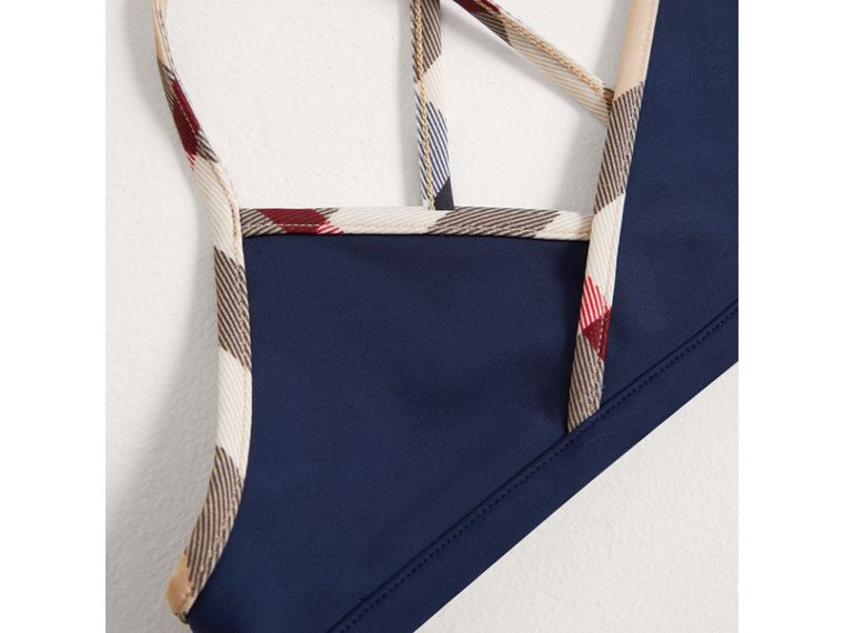 Bikini con finiture con motivo check (Navy) - Bambina | Burberry - cell image 1