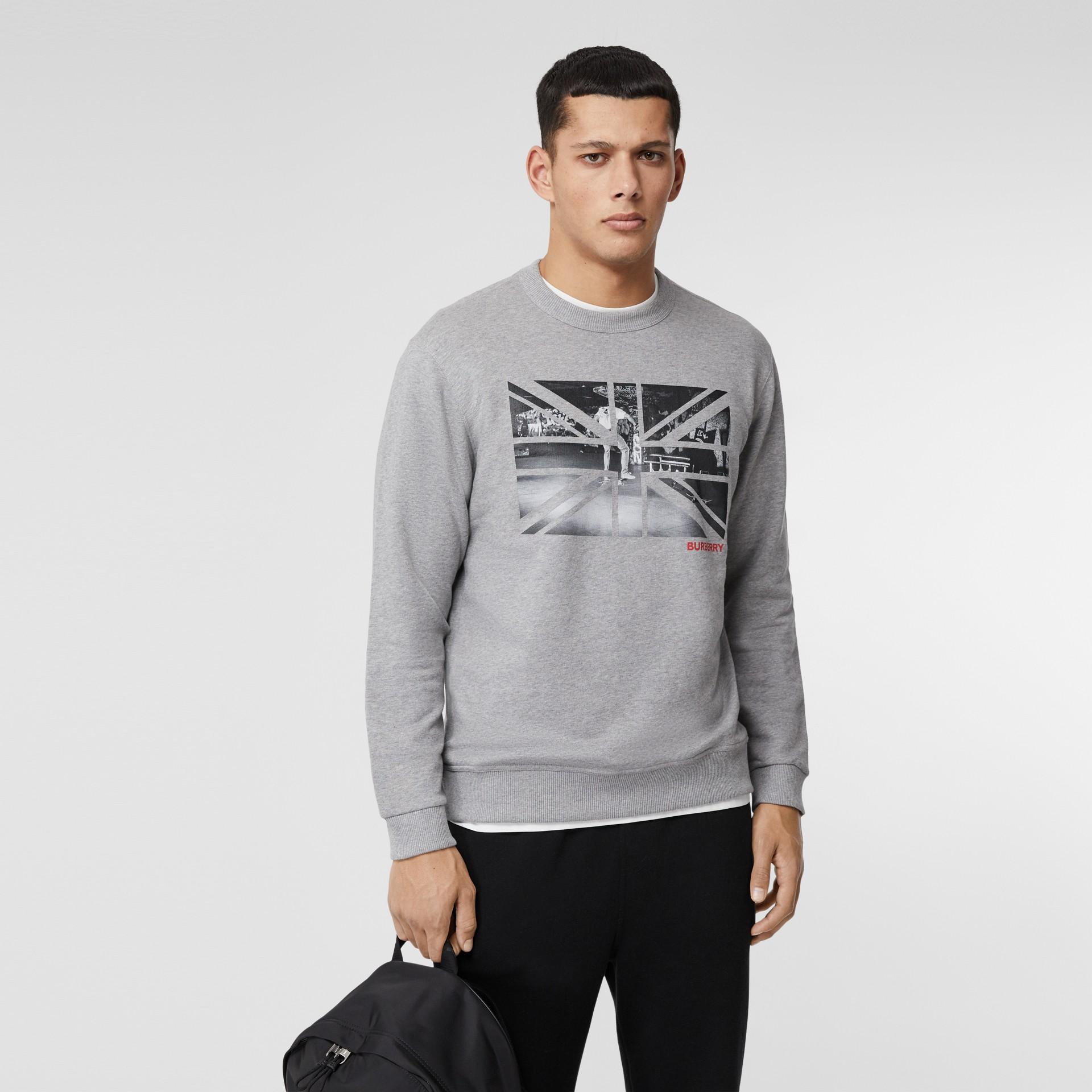 Union Jack Photo Print Cotton Sweatshirt in Pale Grey Melange - Men | Burberry - gallery image 0