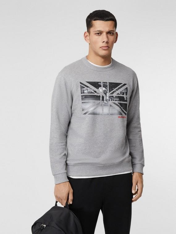 Union Jack Photo Print Cotton Sweatshirt in Pale Grey Melange