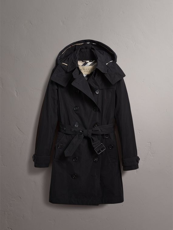 Taffeta Trench Coat with Detachable Hood in Black - cell image 3