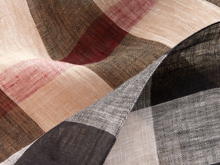 Lightweight Exploded Check Linen Scarf in Camel - cell image 1