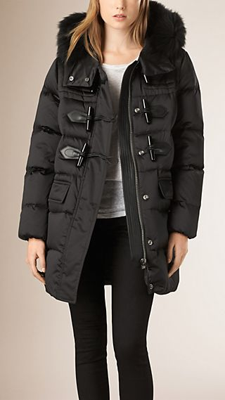 Fox Fur Trim Down-filled Duffle Coat