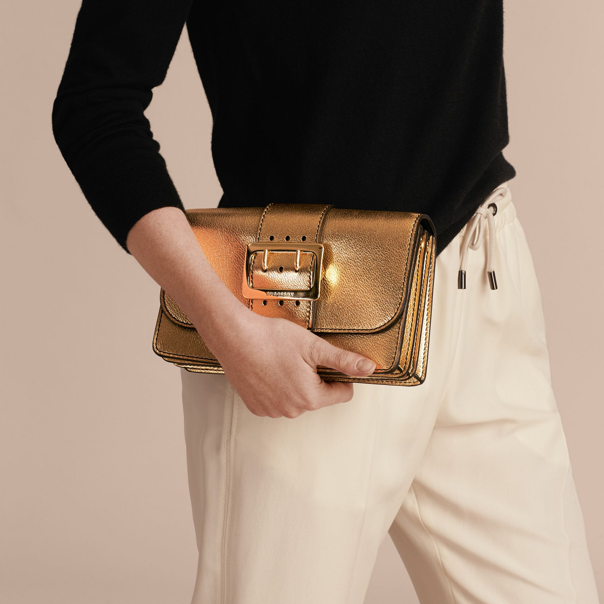 Gold The Medium Buckle Bag in Metallic Leather - gallery image 4