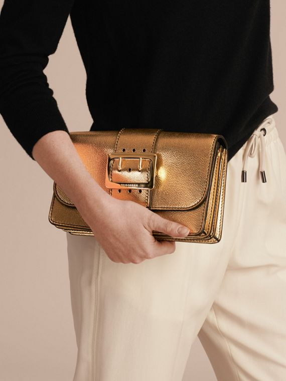 Gold The Medium Buckle Bag in Metallic Leather - cell image 3