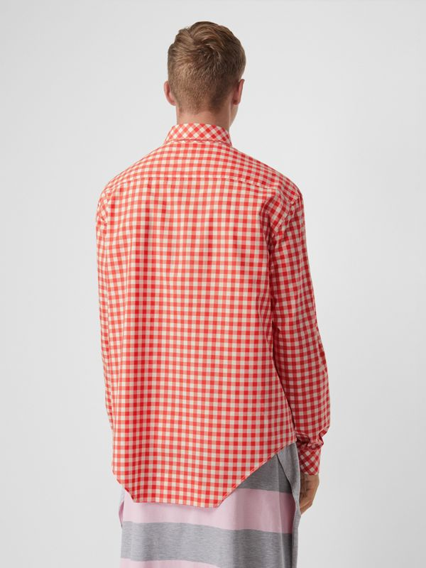 Cut-out Hem Gingham Cotton Oversized Shirt in Red | Burberry - cell image 2