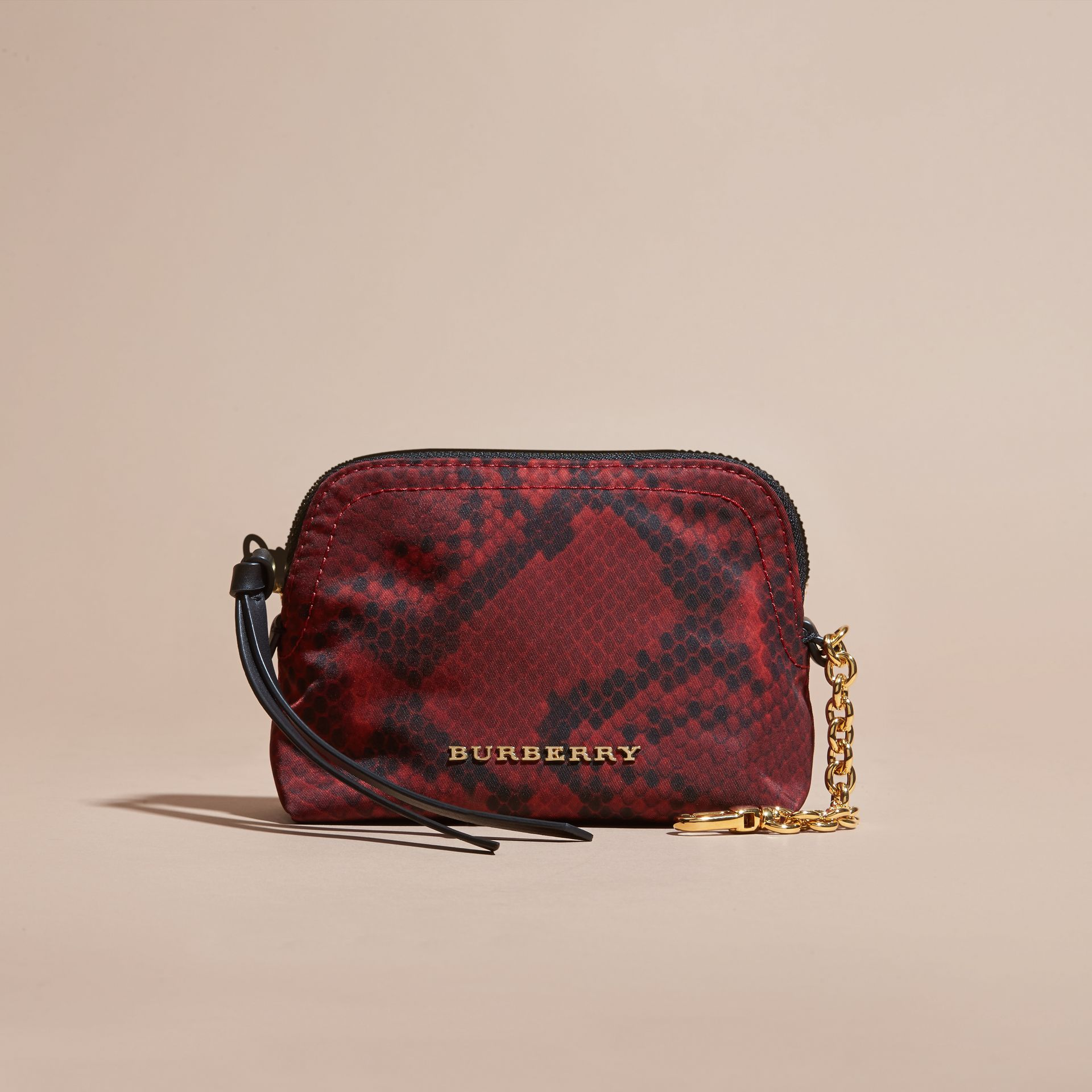 Burgundy red Zip-top Python-print Technical Nylon Pouch Burgundy Red - gallery image 7