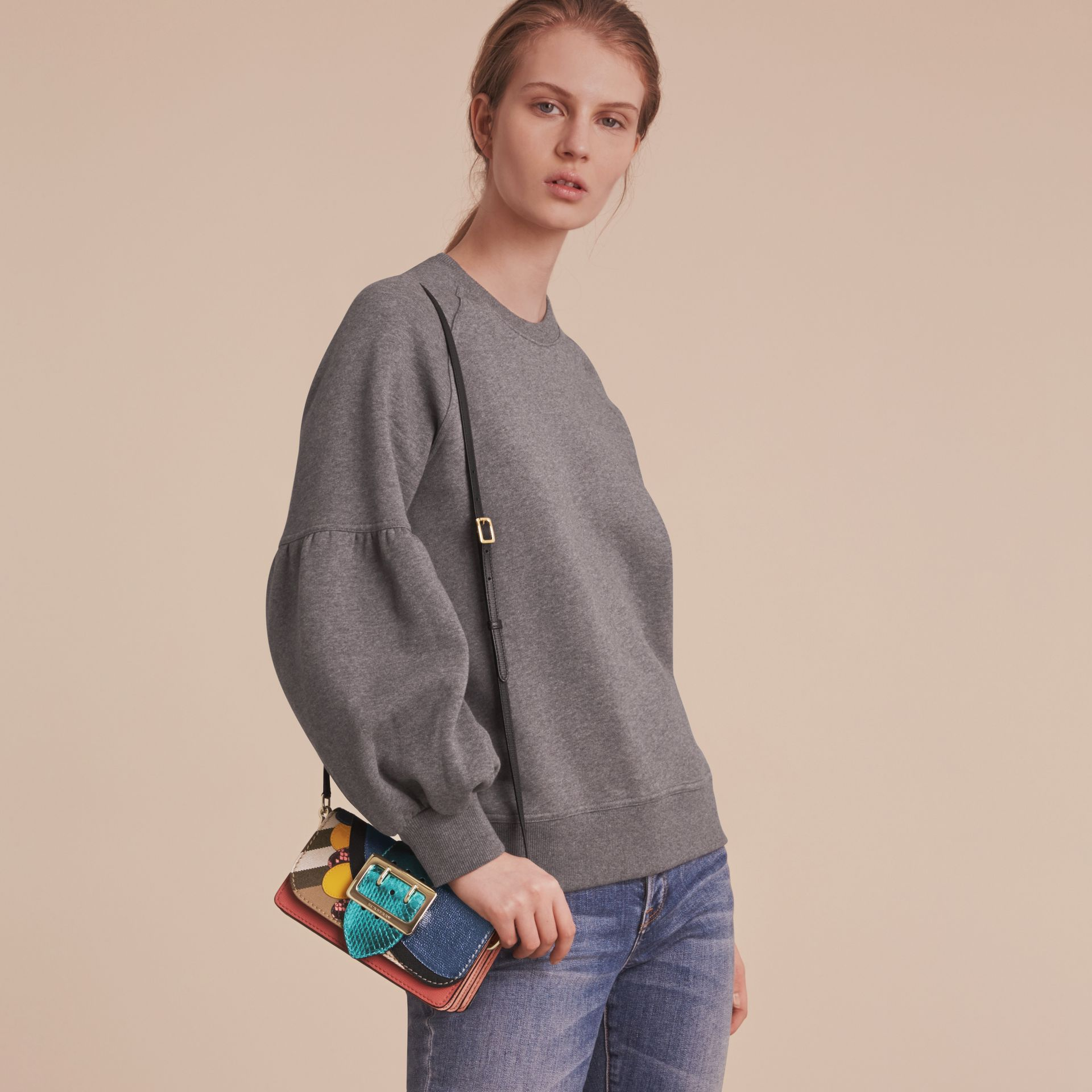 The Small Buckle Bag in House Check and Leather - gallery image 3