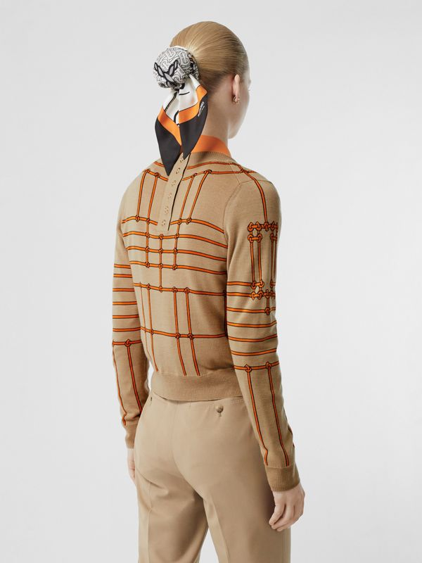 Rope Silk Wool Jacquard V-neck Cardigan in Honey - Women | Burberry Australia - cell image 2