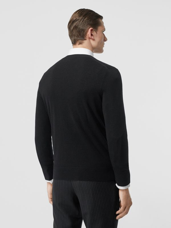 Monogram Motif Cashmere Sweater in Black - Men | Burberry - cell image 2