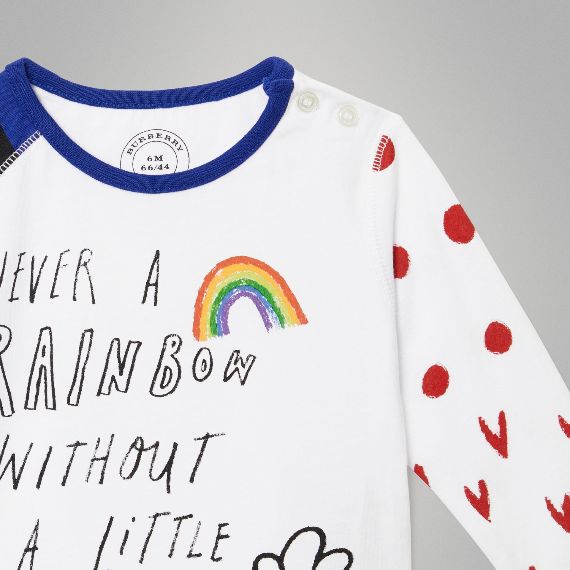 Long-sleeve Rainbow Graphic Cotton Top in White - Children | Burberry - gallery image 4