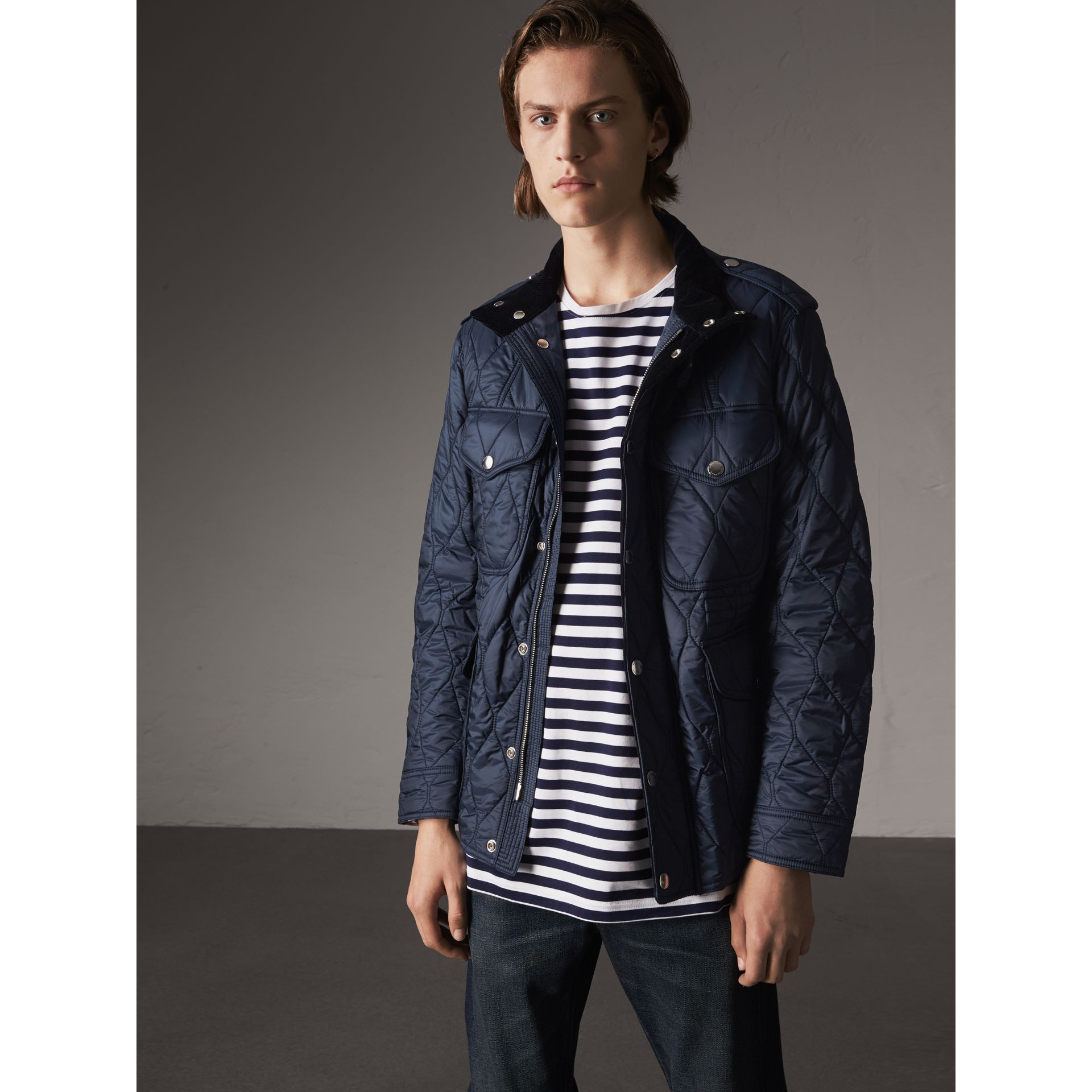 Diamond Quilted Field Jacket in Navy - Men | Burberry - gallery image 0