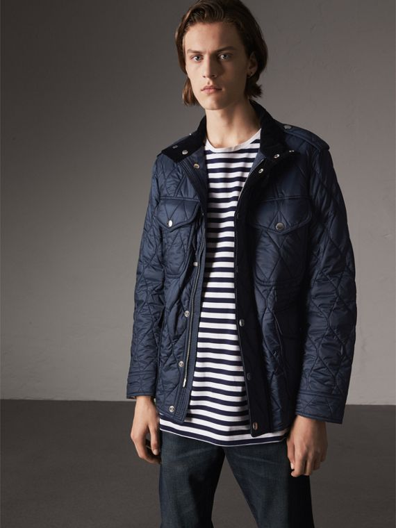 Diamond Quilted Field Jacket in Navy - Men | Burberry Hong Kong