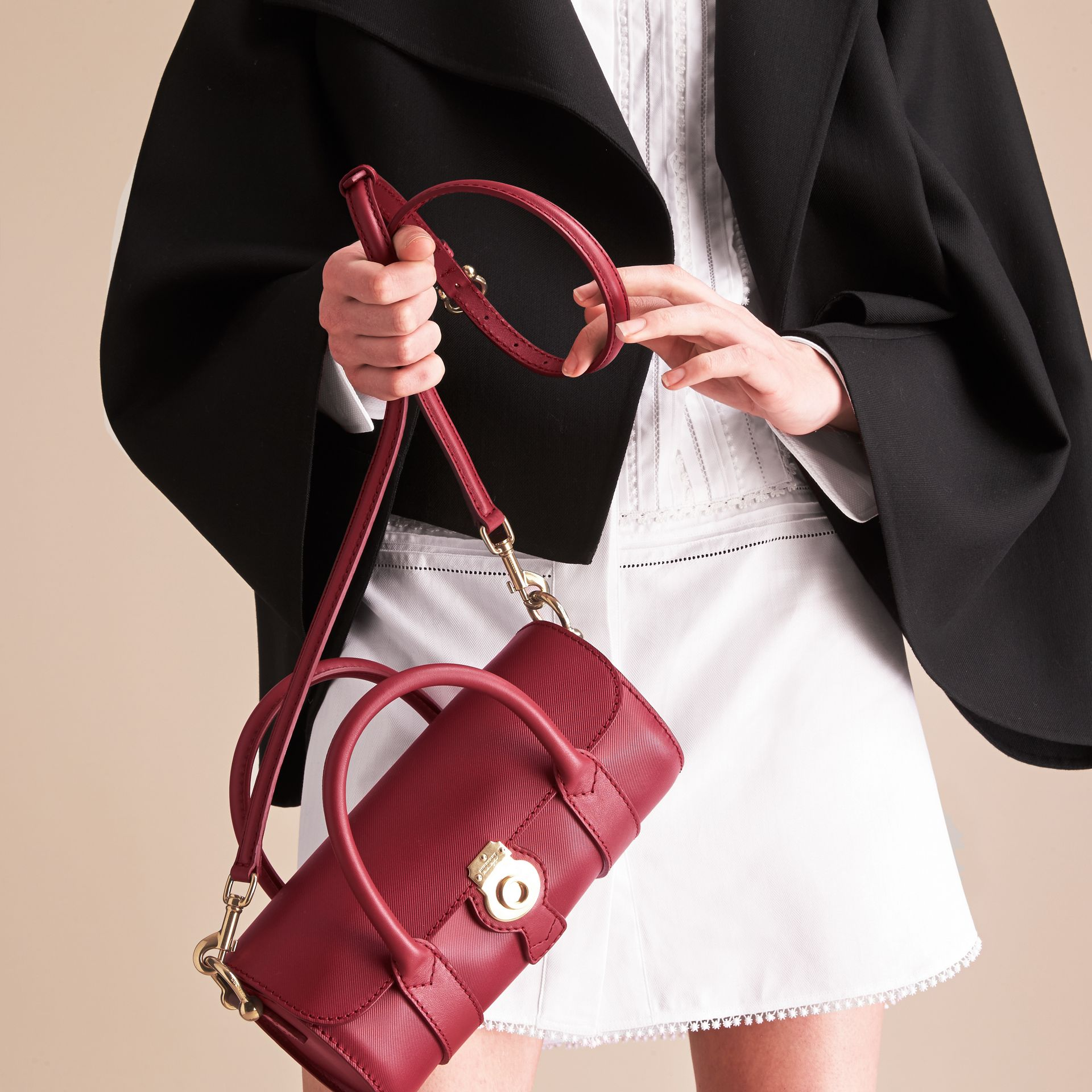 The Small DK88 Barrel Bag in Antique Red - Women | Burberry - gallery image 7