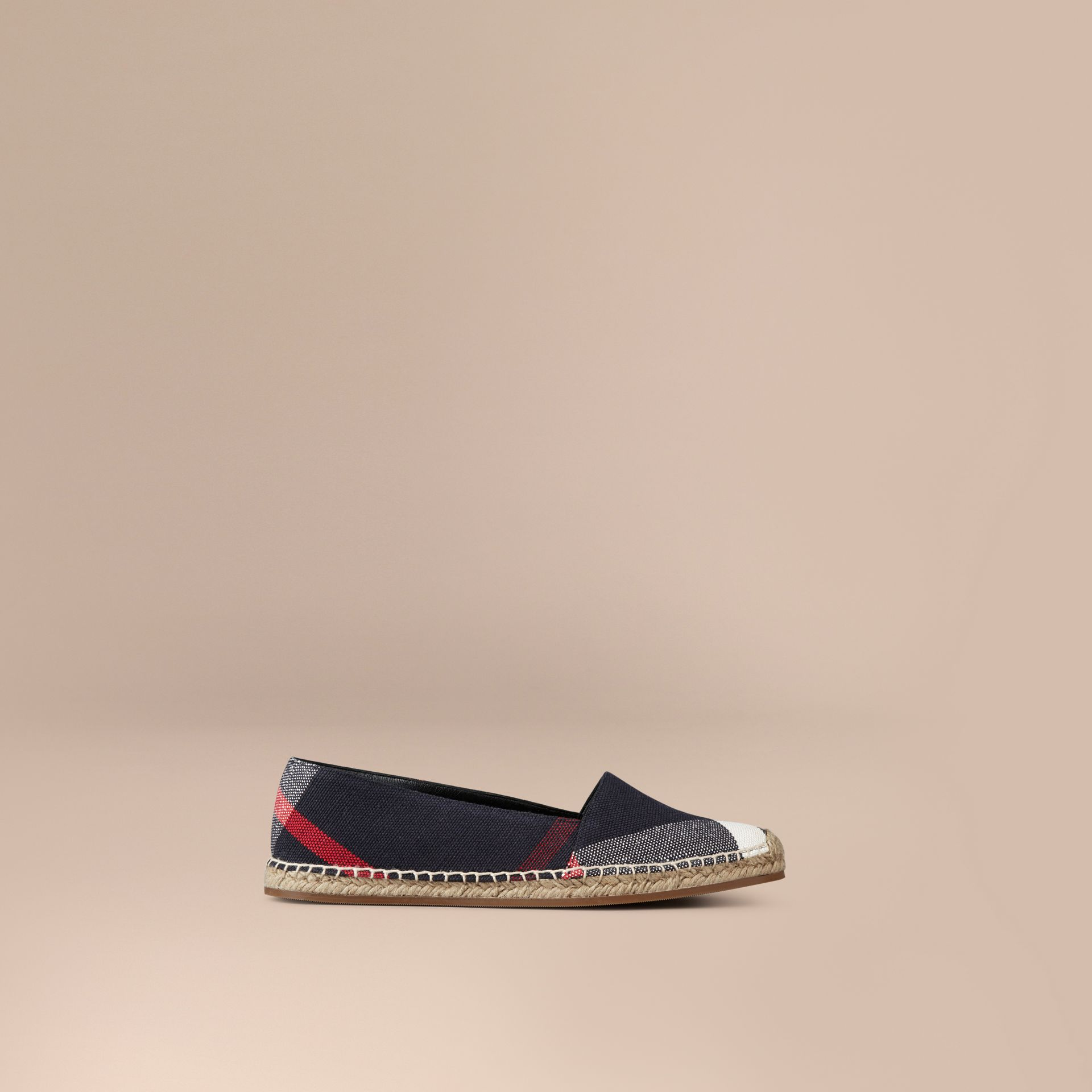 Navy check Check Jute Cotton Espadrilles - gallery image 1