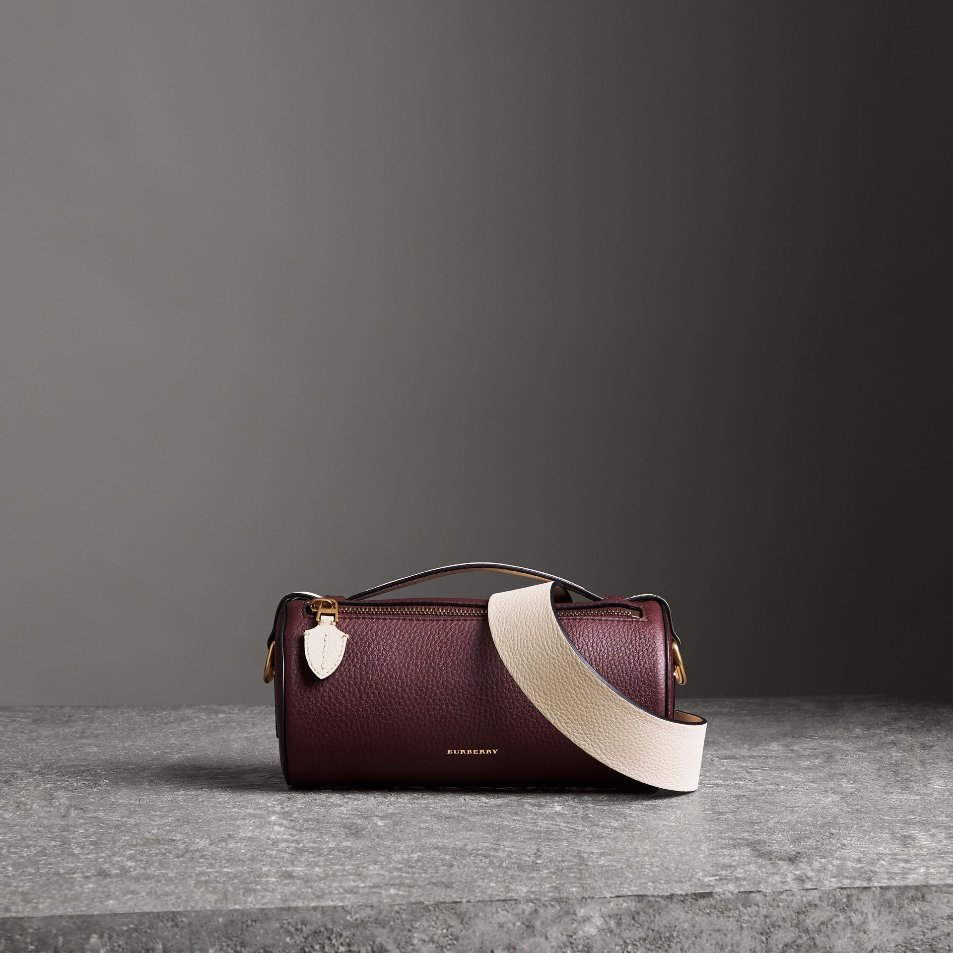 The Leather Barrel Bag in Deep Claret/limestone - Women | Burberry - gallery image 0