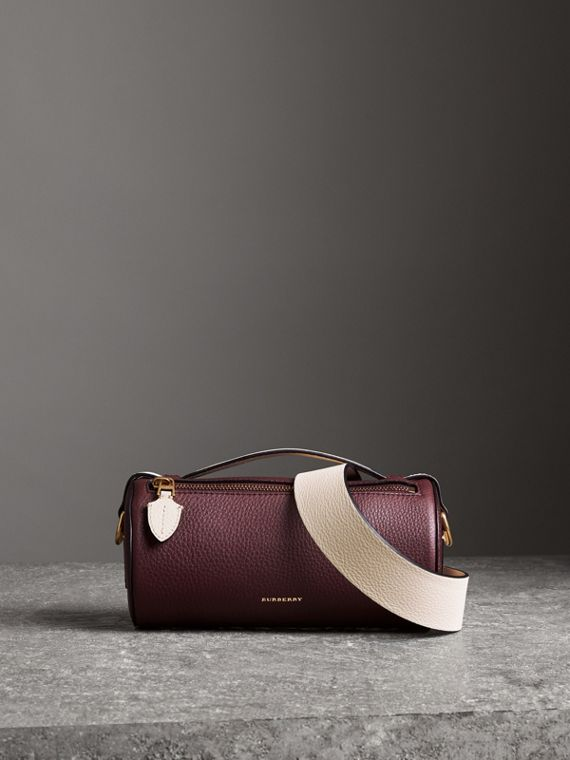 The Leather Barrel Bag in Deep Claret/limestone