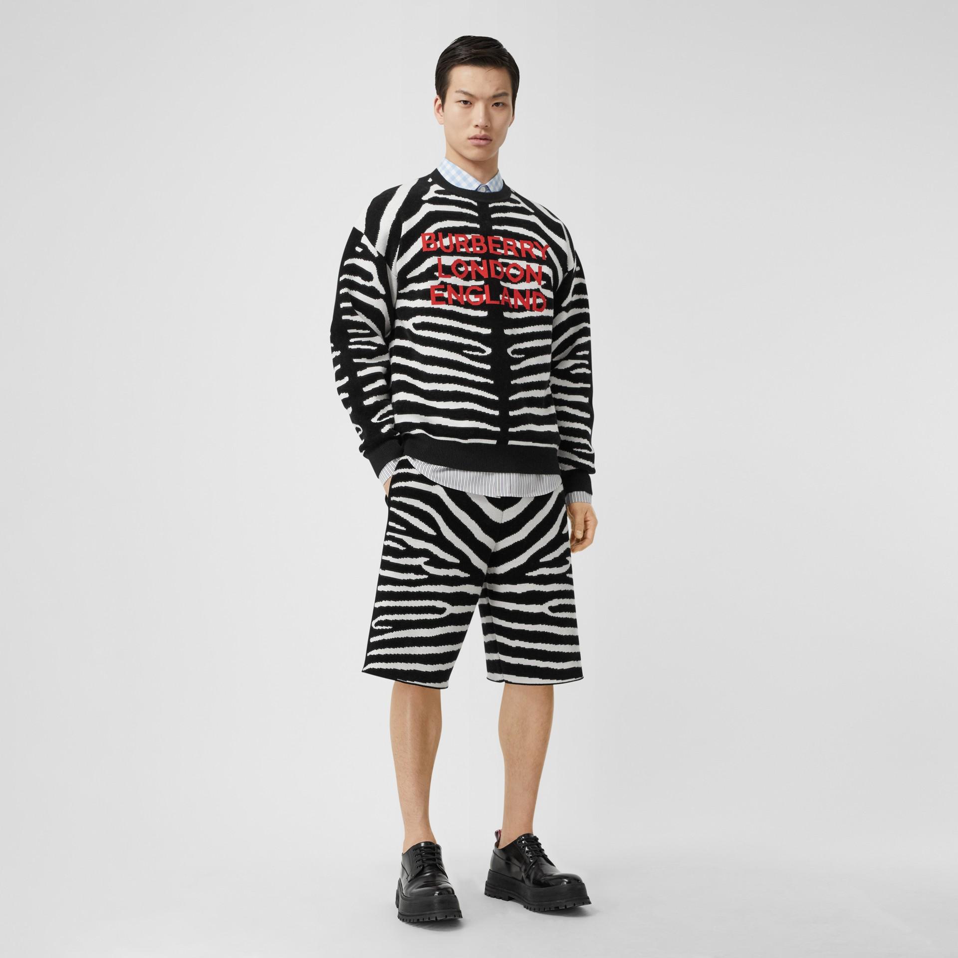 Zebra Wool Blend Jacquard Drawcord Shorts in Black | Burberry United Kingdom - gallery image 0