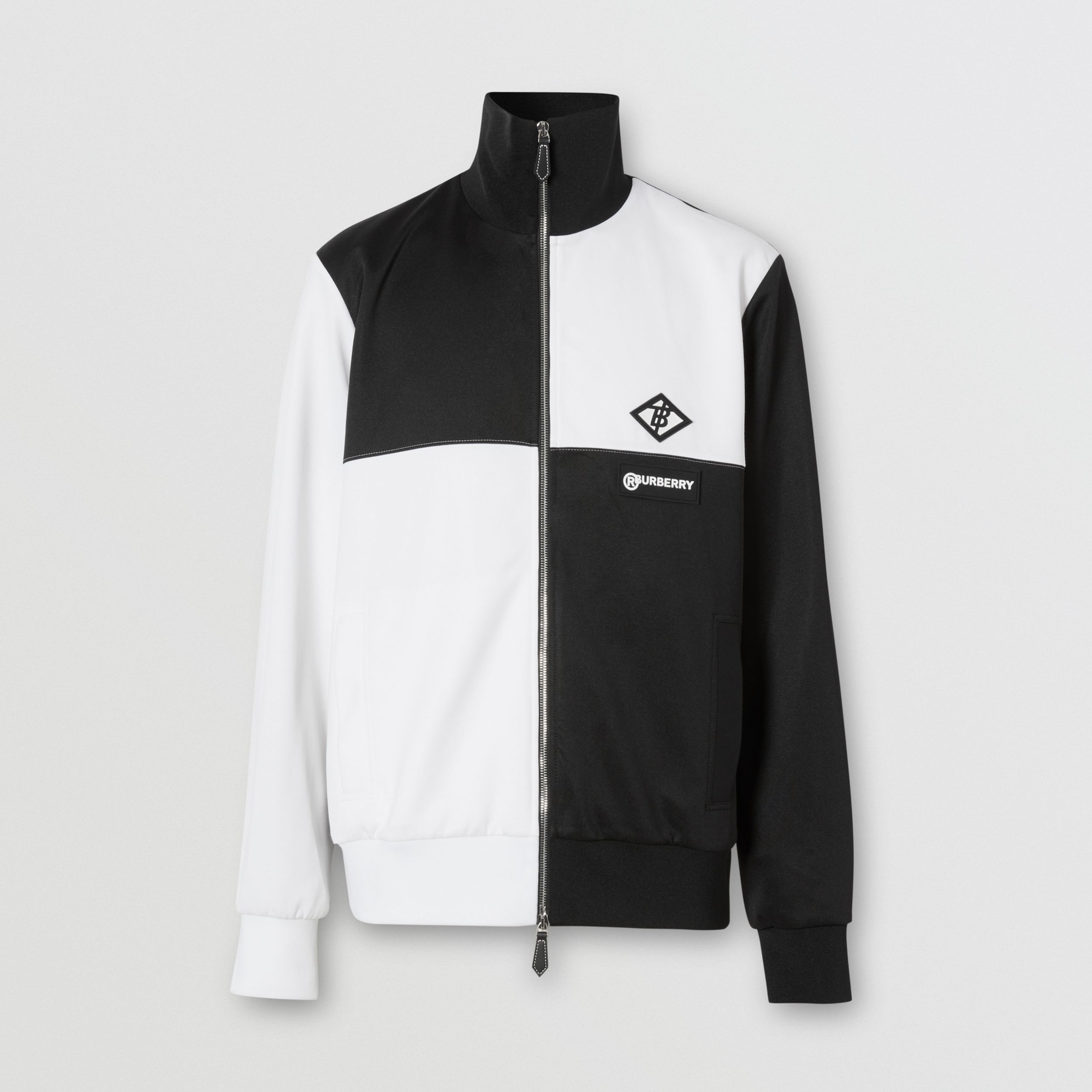 Logo Graphic Two-tone Neoprene Track Top in Black - Men | Burberry United Kingdom - 4